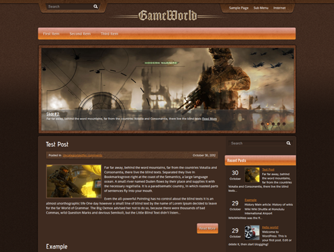 GameWorld Free Premium Wordpress Gaming Theme